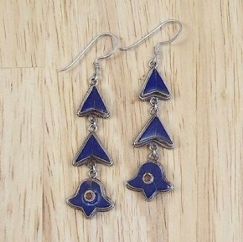 Traditional Indian Lapis Dangly Earrings